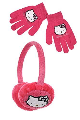 Cache oreilles et gants enfant fille Hello kitty Violet et Rose Taille unique (Rose foncé)