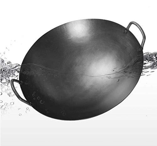 GPWDSN Wok/Padella in ghisa - Pentola Tradizionale in Ferro Rivestito Antiaderente Fatta a Mano, Materiale in ghisa anodizzata Dura, 46 cm