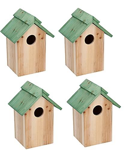 Dokado 4 x Nistkasten Vogelhaus Vogelhäuschen Nisthaus Meisenkasten Vögel Holz Haus 23x12x12cm