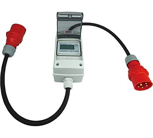 NW Powersolutions NW10108 16A 400V CEE mobiler digitaler Stromzähler geeicht IP44-3-phasig Adapter