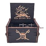 Caja de música de piratas del Caribe, de madera tallada, para jugar (tema de Davy Jone, negro)