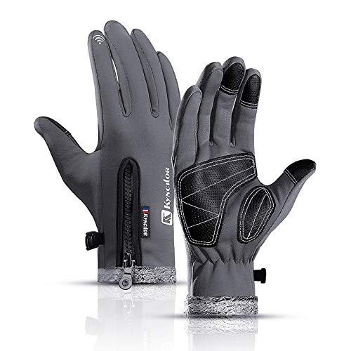 Bestine Unisex Fahrradhandschuhe Skifahren Fahrradlaufhandschuhe Touchscreen Anti-Rutsch-Thermosport Winterwarme Handschuhe verdicktem Fleecefutter Wandern Fahren (Grau,M)