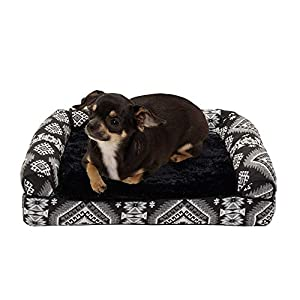 Furhaven Pet Dog Bed – Orthopedic Plush Kilim Southwest Home Decor Traditional Sofa-Style Living Room Couch Pet Bed with Removable Cover for Dogs and Cats, Black Medallion, Small