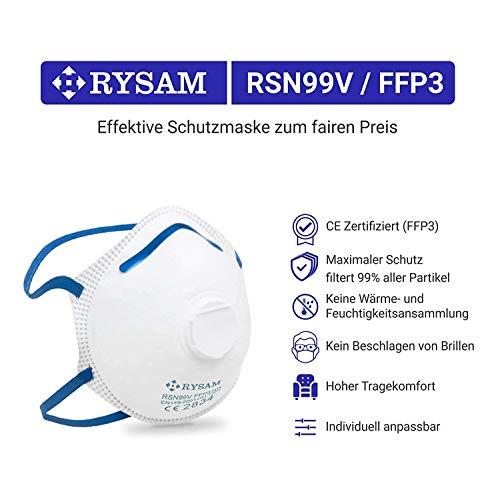 RYSAM Zertifizierte FFP3 Atemschutzmaske Staubmaske Atemmaske Staubschutzmaske Mundschutzmaske – 10 Stück - 6