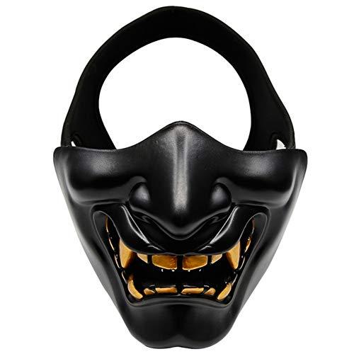 VKTY Máscara facial de Halloween Diablo, máscara de media cara, TPU transpirable clásica sonrisa Prajna inferior, disfraz de fiesta de disfraces para fiestas de máscaras, color negro