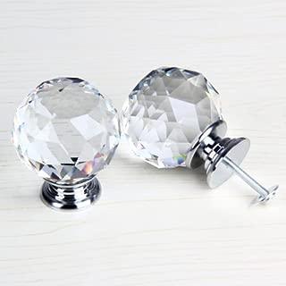Revesun 4PCS/LOT 50mm Clear Crystal Glass Door Knobs Cabinet Pulls Cupboard Handles Drawer Knobs Wardrobe Home Hardware