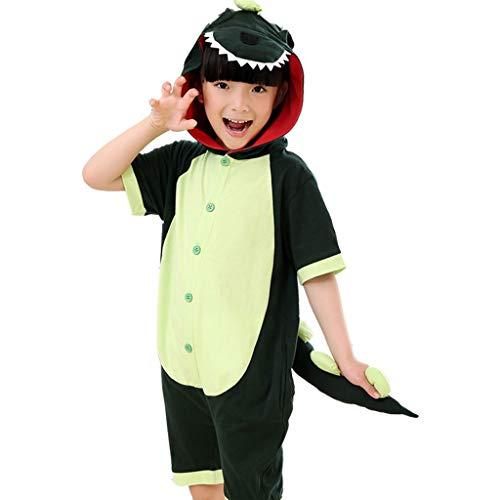 NYKK Pijamas novedosos de una Pieza Dinosaurio niños de Manga Corta Pijama de Animal, niños de una Sola Pieza del Traje del Verano Unisex Pijama Juego Corto Disfraces para niños
