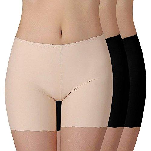 Shujin Damen 3er Pack Sommer Retroshorts Weich Panties Boyshort Sicherheits Shorts Elasthan Kurz Leggings Tanz Unterrock Kleid Rock, Schwarz+schwarz+hautfarbe, L