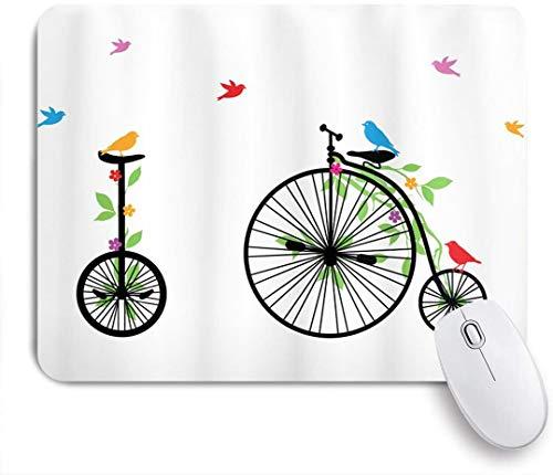 Dekoratives Gaming-Mauspad,Fahrrad fliegende Vögel und Blumen auf alten Einzelrad-Fahrrädern Glück und Freude Pedale Grafik,Bürocomputer-Mausmatte mit rutschfester Gummibasis