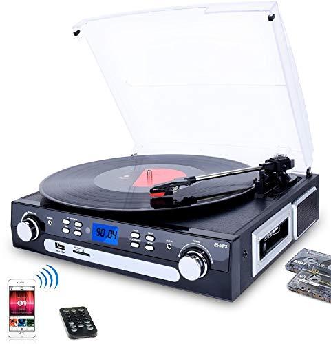 WAXGHH Tocadiscos portátil con Altavoces, la Placa giratoria de Vinilo a MP3 con Casete de reproducción, Radio Am/FM, Control Remoto, USB/SD Codificación, de 3,5 mm de Salida de Música Jack