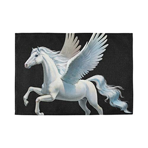 XiangHeFu Home 12x18inx1 Gemakkelijk schoon Placemat Decor Niet Slip Tafel Mat Hittebestendige Paard Vleugel Vlieg