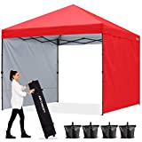 ABCCANOPY 2.4x2.4M Pavillon Outdoor Easy Pop-up-Überdachungszelt mit 2 Seitenwände,Rot