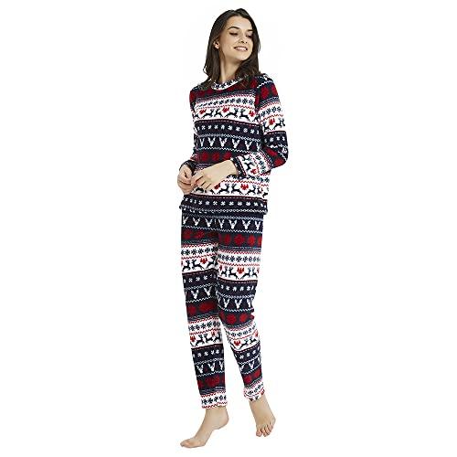 PimpamTex – Pijama Coralina de Mujer Otoño-Invierno de Manga Larga Polar Calentito con Tacto Suave – (L, Ciervos Azul/Rojo)