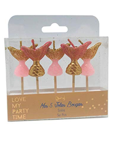 Artifetes 5 Novelty Candles on Spikes Mermaid 7 cm
