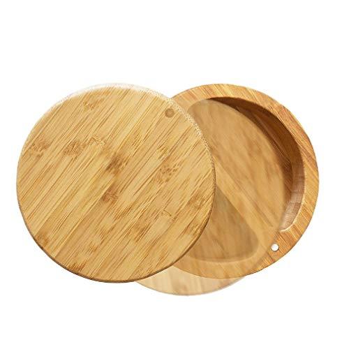 Suministros de Cocina Caja de condimento para salero de bambú ecológico (Color Madera)