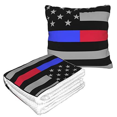 Kissen mit USA-Amerika-Flagge, blau-rote Linie, warme Flanelldecke mit Reißverschluss, Premium-weiche 2-in-1-Flugzeug-Decke, gemütliche, tragbare Plüsch-Überwurfdecken für Sofa, Schlafzimmer, Auto