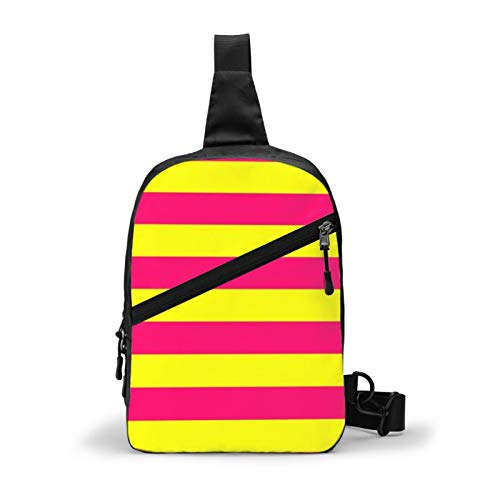 Bright Neon Pink And Yellow Horizontal Cabana Tent Stripes Chest Package Multipurpose Crossbody Sling Backpack Outdoor Shoulder Bag Travel Hiking Daypack Men & Women Casual Sport Rucksack