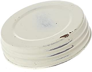 Factory Direct Craft Package of 4 Distressed Ivory Painted Metal Mason Jar Wide Mouth Lids for Crafting, Decorating and Creating
