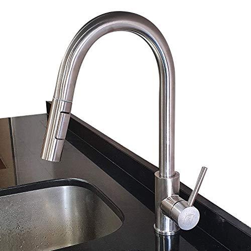 LarDeCor - Grifo de Cocina con Teleducha Extraíble con 2 Modos de Chorro. Agua Caliente y Fría - HÁIFOSS (Mod. 8001-1)