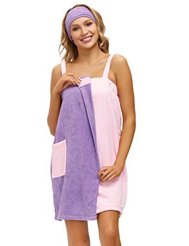 Zexxxy Handtuchwickel für Damen Hochsaugfähiges Badetuch Weiche Sarong Handtuch Dusche Spa Beach Gym Handtuch Robe Vertuschungskleid Lila-Rosa S