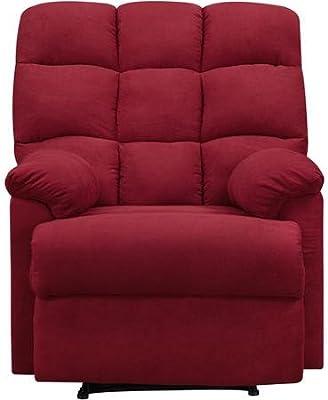 7a9fe34b3da ProLounger Wall Hugger Microfiber Biscuit Back Recliner Chair (Crimson Red)