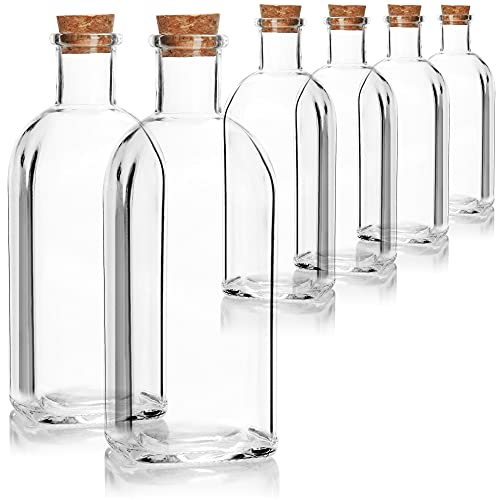 COM-FOUR 6x Botella de vidrio de 500 ml con corcho - Botella de vidrio vacía con tapón de corcho - Recipiente de vidrio para llenar con líquidos, aceite, vinagre, aguardiente