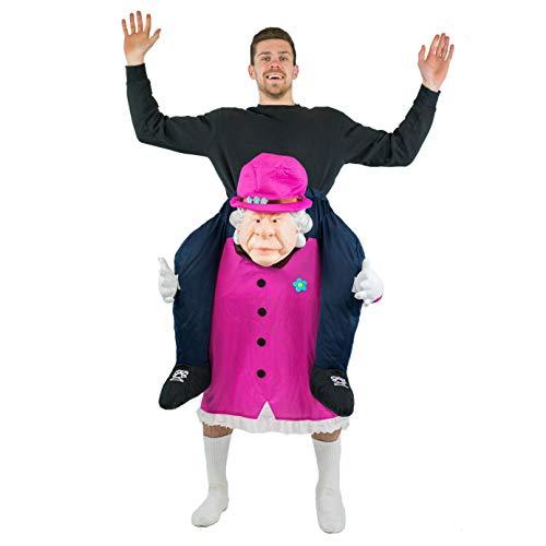 Bodysocks Fancy Dress Costume da Queen Elizabeth a Cavalluccio (Carry Me) per Adulti