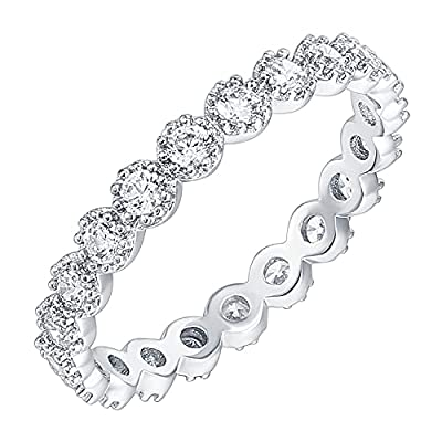 PAVOI 14K White Gold Plated Rings Cubic Zirconia Band   Marquise Milgrain Eternity Bands   White Gold Rings for Women Size 5