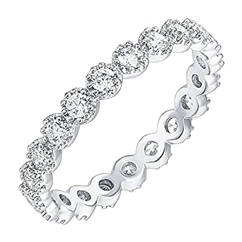 PAVOI 14K White Gold Plated Rings Cubic Zirconia Band   Marquise Milgrain Eternity Bands   White Gold Rings for Women Size 9