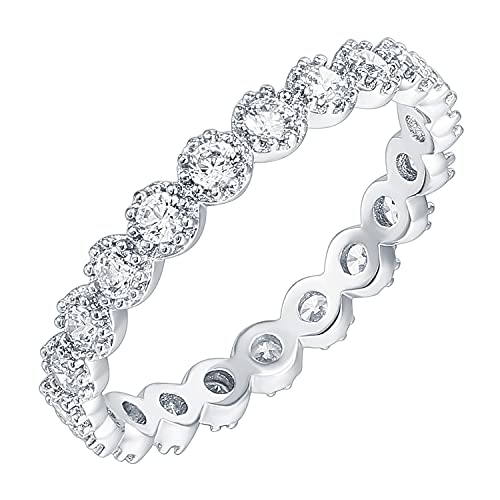 PAVOI 14K White Gold Plated Rings Cubic Zirconia Band | Marquise Milgrain Eternity Bands | White Gold Rings for Women Size 7