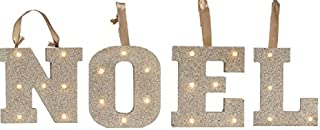 Noel Light UP Letters LED Gold Glitter Marquee Wooden Alphabet Lights for Festival Decorative Decor Party, (Wall or Table Top) Christmas (Noel)
