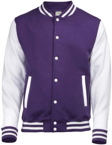 AWDis Hoods Varsity Letterman Jacket Jet Black//White XL