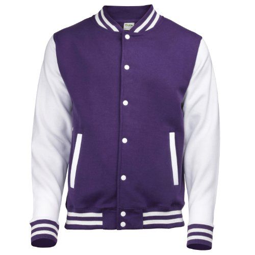 AWDis Hoods Varsity Letterman jacket Purple / White 2XL