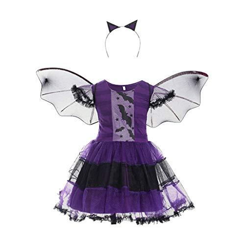NINGYE Kinder Hexe Cosplay Fledermauskleid und Haarreifen-Set, Mädchen, Cosplay, Fasching, Halloween, Party Kostüm