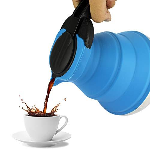 Campingkocher Wasserkanne - Tee & Kaffekanne | Edelstahl Kochfeld Faltbar - Blau | Für Camping Outdoor Sourvival Wohnmobiel