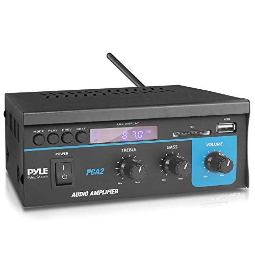 Home Audio Power Amplifier System 2X40W Mini Dual Channel Sound Stereo Receiver Box w/ LED For Amplified Speakers, CD Player, Theater via 3.5mm RCA for Studio, Home Use Pyle PCA2 Black