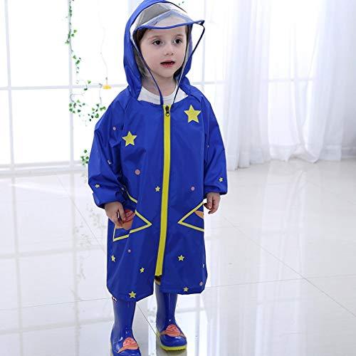 WYJW waterdichte jassen kinderen poncho jongens en meisjes student regenjas baby grote brim heeft regenjas S blauw