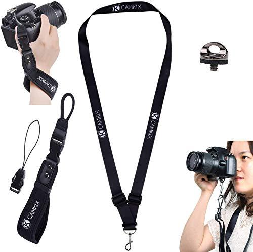 Handschlaufe und Schlüsselband für DSLR und Kompaktkameras - Extra stark - Komfortables Neoprenarmband - Verstellbare Passform - Schnellverschluss Clip - Stativschraube, Haltegurt und Reinigungstuch