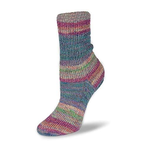 Flotte Socke 100g Baumwolle-Merino Stretch - Farbe: 1553 - blau-grün-rosa - Hochwertige Sockenwolle mit Merinowolle.