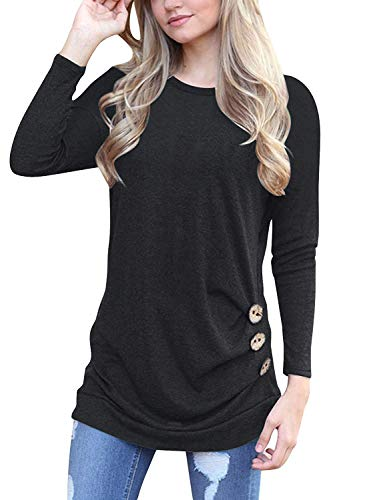 Muhadrs Womens Long Sleeve Casual Round Neck Loose Tunic Top Blouse T-Shirt Black L