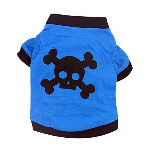 Smniao Hundekleidung für Kleine Hunde Französische Bulldogge Halloween Cosplay Skull Muster Kostüm Haustier Katze Bekleidung (L, Blau)
