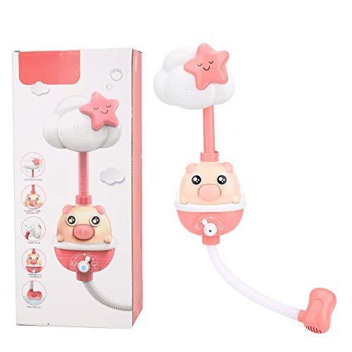 Elektrisches Kinderbade-Duschspielzeug, schweineartiges Design Elektronisches Duschkopf-Sprühbadespielzeug mit Saugnapf für Babykinder(rot)