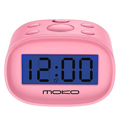 MoKo Kids Alarm Clock for Bedroom, Small Size with Large Digital Display and Backlight, Table Desk Clock Battery Operated, Easy to Use and Set, Pink