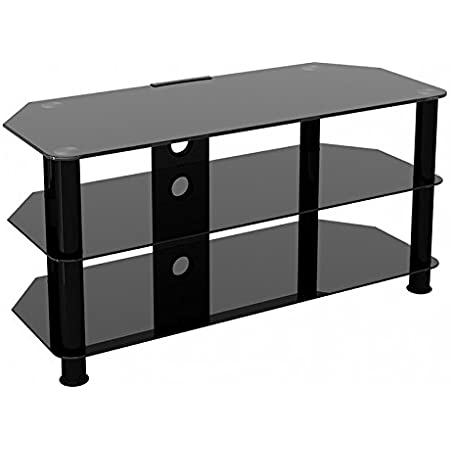 King Glass Tv Stand For Hd Led Lcd 4k 8k Qled Tvs Up To 50 Inch By Tv Furniture Direct 100cm Black Glass Black Leg Amazon Co Uk Kitchen Home