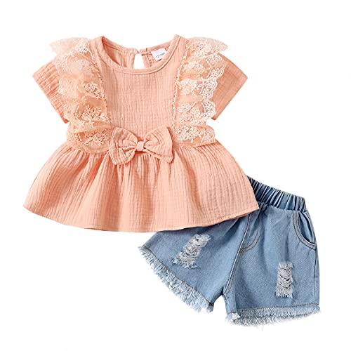 Amissz Baby Mädchen Kleidung Set für 12 Monate-4 Jahre, Kinder Mädchen Bekleidungsset Kurzarm Spitze Strampler Top Blau Zerrissene Jeanshose Frühling und Sommer Outfit