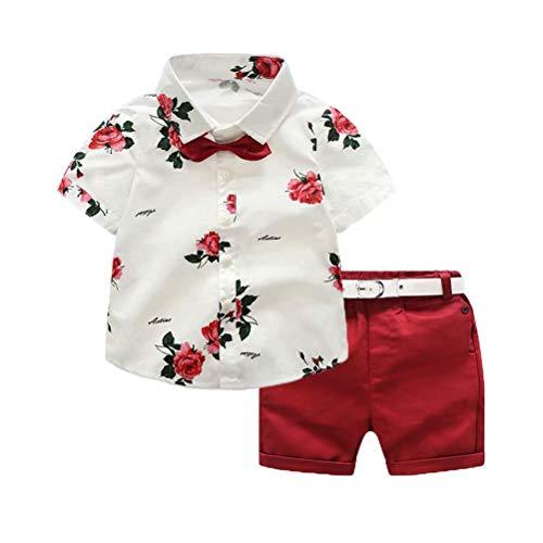 Geagodelia Conjunto Niños Bebés Verano Gentleman Camiseta de Manga Corta Pantalón Corto Ropa Bautizo de 2 Piezas