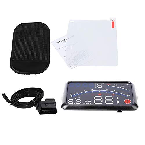 Universal 5,5 Zoll Auto Hud Heads Up Display, Universal F4 MPH Überdrehzahlalarm Tachometer Head Up Display MPH/KM/h mit Windschutzscheibe Projektionsfolie 12V