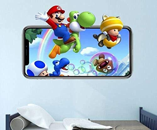 YQSL Bros Yoshi Wandtattoo Videospiel 3D Aufkleber dekorative Wandbild Vinyl Kinder