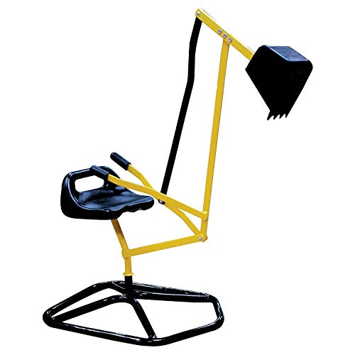 Ride On Crane Digger- Mechanical Digging Metal Outdoor Toy- Swing and Grab Function, Rotates 360