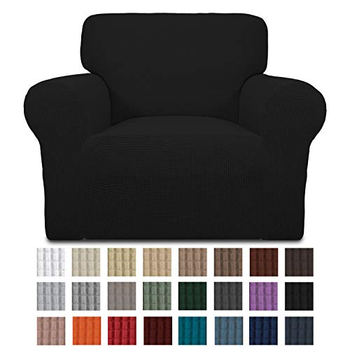 Easy-Going Stretch Chair Sofa Slipcover 1-Piece Couch Sofa Cover Furniture Protector Soft with Elastic Bottom for Kids. Spandex Jacquard Fabric Small Checks(Chair,Black)